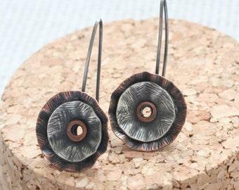 Flower earrings, Copper and sterling poppy earrings, ready to ship, OOAK