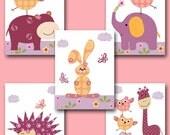 Giraffe Nursery Print Kids Wall Art Elephant Nursery Owl Nursery Baby Girl Nursery Art Baby Room Decor set of 5 11x14 Violet Rose Yellow