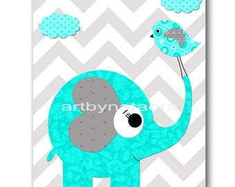 Kids wall art bird Elephant Nursery Baby Nursery Decor Baby Boy Nursery Kids Art Baby Room Decor Nursery Print Boy Print gray blue art