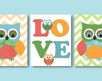 Kids Wall Art Owl Nursery Owl Decor Baby Nursery Decor Baby Boy Girl Nursery Kids Art Baby Room Decor Nursery Print set of 3 Green Blue /