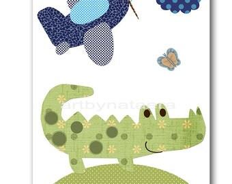 Crocodile Nursery Decor  Kids Wall Art Baby Boy Nursery Print Baby Room Decor Kids Art Baby Nursery Art Boy Print 3 Green Navy Plane