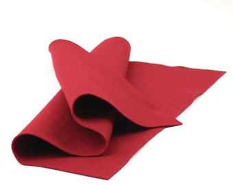 "100 Percent Wool Felt Sheet in Color CRIMSON -  18"" X 18"" Wool Felt - Merino Wool Felt - European Wool Felt"