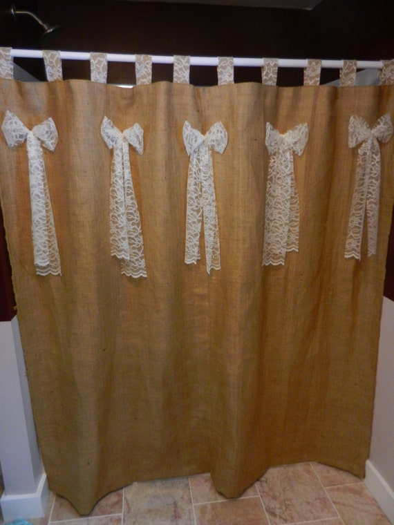 Burlap And Lace Tab Shower Curtain With Lace Bows Measures