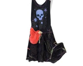Black Velvet Punk Princess. Skull Sleeveless Dress