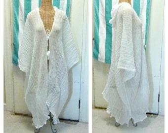 Spa Hoodie Robe Coverup Kimono Short, Midi or Maxi Meditation Ceremony White Cover Up Womens One Size Cotton