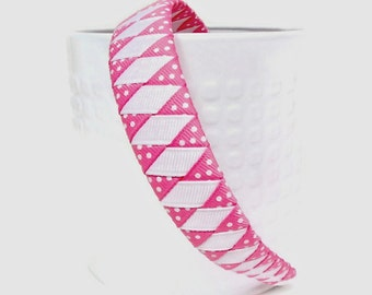 Woven Headband Pink and White Woven Headband Toddler Headband Girl Headband School Headband Valentine Headband  1 inch 1/2 inch
