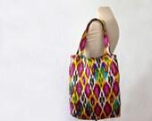 folk art bag, SALE, large cotton tote bag, textile bag, shopper, made in Uzbekistan, ikat bag, book bag, bright, yoga bag, affordable cheap