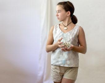 silk ikat top, girl blouse, custom, teenager silk shirt, Uzbek silk, custom, made in Uzbekistan, ikat silk shell, silk top, neutral, pastel