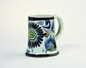 Vintage Tonala mug – Mexican pottery – blue green yellow flower pottery mug