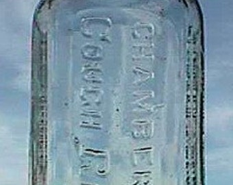 Funky antique 1800's quack medicine bottle CHAMBERLAINS COUGH REMEDY old hand blown bottle