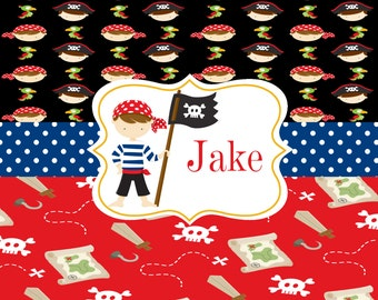 Personalized Kids Placemat, Laminated Pirate Placemat, Boy Placemat, Double Sided, Kids Table