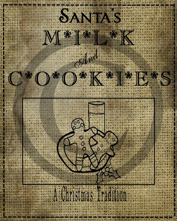 Milk and Cookies Gingerbread Man Cookie Pantry Logo Feedsack Label ...