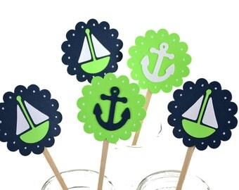 12 Lime Green Nautical Cupcake Toppers-Nautical Birthday Party-Nautical Invitation-Nautical Party Decor-Sailboat Centerpiece