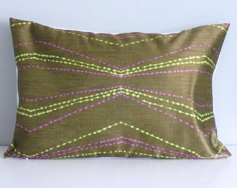 Olive Pillow Cover, Chevron Decorative Pillow Covers-12x18 Lumbar Throw Pillow Cover