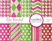 Digital Scrapbook Paper Pack - FELIZ NAVIDAD - Distressed Digital Paper - Vintage Christmas Digital Paper - Red, Hot Pink & Lime