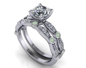 18K Gold Moissanite Center Diamond and Green Amethyst Wedding Set