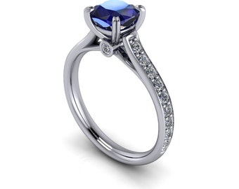 Cushion Cut Blue Sapphire  and Diamond Engagement Ring  Ring Name New Era