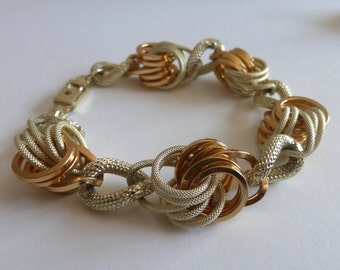 1960's Silver and Rose Gold Loop Cluster Chunky Link Bracelet
