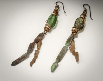 Rustic Copper Earrings with Ancient Roman Glass Beads