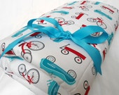 """Baby Play Mat Padded Floor Blanket Bike Wagon Red Blue Tummy Time Newborn Gift Baby Shower Nap Mat Personalize Custom 35"""" x 35"""" or 40"""" x 35"""""""