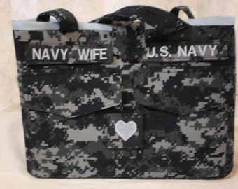 nwu navy purse with tapes and rank heart. tapes and heartrank may be customized