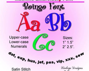 Download Machine Embroidery Alphabet Boingo Font