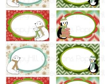 INSTANT DOWNLOAD - Printable Holiday Cheer Labels - Mailing or Address - Gift Labels - Holiday Labels - Birds - Digital Design