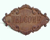 Rusty Cast Iron Welcome Sign For Your Cottage or Potting Shed Spring Garden Gift - Idugitup