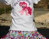 Pinke Pie Pony birthday outfit, My little Pony, Personalized Shirt and skirt, Embroidered, Appliqued, Monogrammed