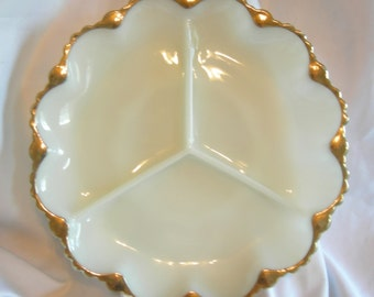 3 Section Anchor Hocking Fire King White Milk Glass Divided Scalloped Edge Serving Dish with Gold Trim - Vintage 1945-1960