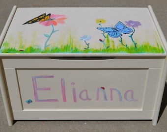 Made to Order Custom Painted White Toy Box, Yellow Blue Butterflies, Ladybugs, Dragonflies, & Flowers, Child's Name on Front, Hand Painted