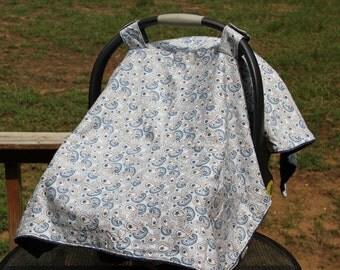 Light Blue Paisley Car Seat Cover