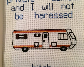 "Breaking Bad inspired ""Own private domicile"" cross-stitch embroidery pattern PDF"