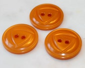 """RESERVED FOR KIMBERLY-Vintage set of 3 pumpkin orange early plastic buttons w/ Art Deco 2 holes 7/8"""" dia. 1950's notions excellent condition"""