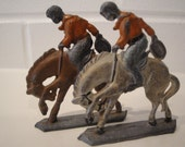 Vintage Bucking Bronco Cowboy Metal Figurine, Set of 2, Good Color