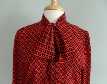 SALE Red Tie Neck Blouse // Josephine Woman // Long Sleeve // Red and Black Print // Vintage Wmns Sz 36
