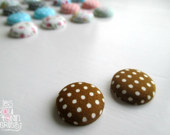 Earrings buttons -Brown-