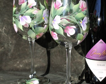 Hand Painted Wine Glasses (Set of 2) - Rose buds
