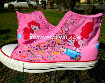 Pinkie Pie Party Cannon Confetti Burst Custom Painted Shoes MLP My Little Pony Ponycon comiccon - by SeriouslySavage