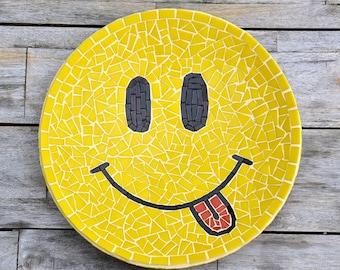 Big yellow smiley face, glass mosaic dish