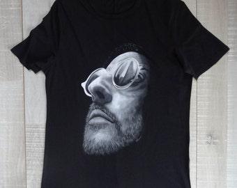 Black and white Zan Reno-Hand painted black tshirt-Inspired by Leon