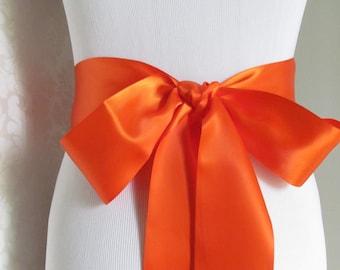 Orange Satin Ribbon Sash / Ribbon Sash / Satin Bridal Sash /  bridesmaid Sash /