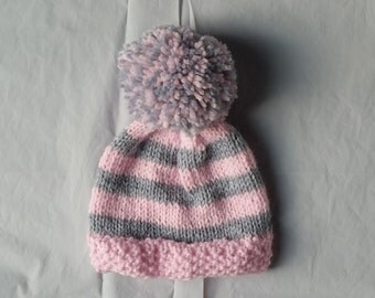 Hand Knit Baby Hat, Knit Baby Girl Hat, Knit Baby Girl Items, Baby Girl Clothes, Knit Hat Baby, Baby Girl Gift