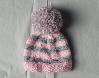 Hand Knit Baby Hat, Knit Baby Girl Hat, Knit Baby Girl Items, Baby Girl Clothes, Knit Hat Baby