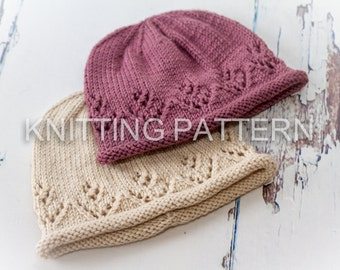 Knitting Pattern/Written Instructions - Lace Posy Baby Beanie Hat - DIY baby hat, knit instructions