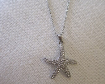 Starfish necklace with clear crystals - Silver Rhinestone Starfish Necklace - Beach Wedding - Starfish Jewelry