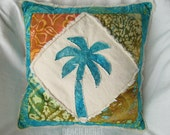 Palm tree boho pillow cover, patchwork with green, aqua, yellow and orange batik and natural denim 18""