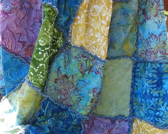 Rag quilt plus shams, full size or queen or king coverlet in batik blues greens purple and yellow gold and soft washed denim boho quilt