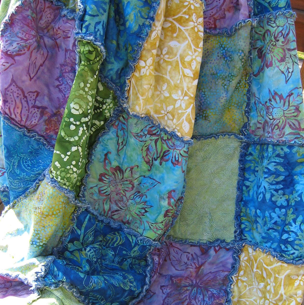 Batik And Denim Boho Rag Quilt Throw In Blues Greens Purple