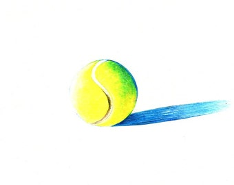 "Tennis Ball Print: Digital print of an original drawing available 5x7"" or 8x10"""